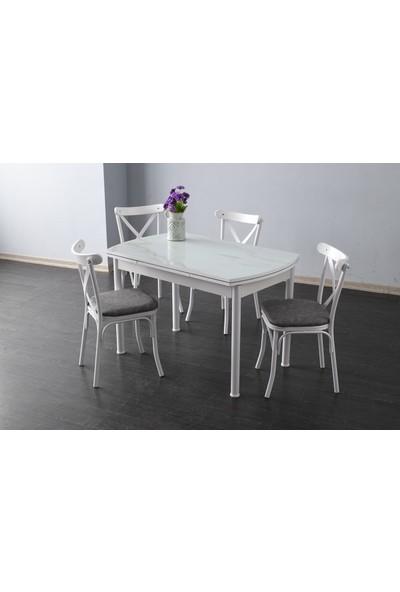 Yıldız Mobilya ve Aksesuar Oval Büyüyen Beyaz Mermer Bahar Sandalye