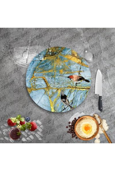 Ayna Evim Desenli - Baskılı Yuvarlak Cam Kesme Tahtası 31 cm