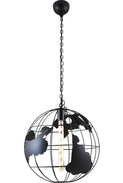 YB Dizayn Modern Retro Dünya Harita Sarkıt Avize Siyah