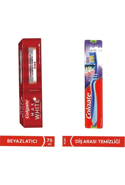 Colgate Max White One Beyazlatıcı Diş Macunu 75 ml + Diş Fırçası