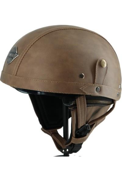 Tex 130-3 Vizörlü Deri Kask, Chopper Kask Gözlüklü (Kahverengi)