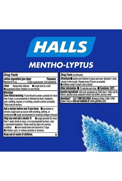 Halls Rölyef Mentho-Lyptus Mentol Aromalı Öksürük Damlaları