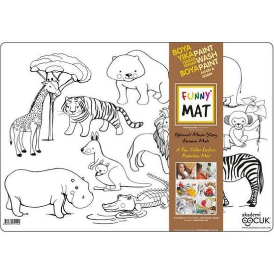 Akademi Çocuk Funny Mat Eğlenceli Masa Yüzey Matı - Vahşi Hayvanlar