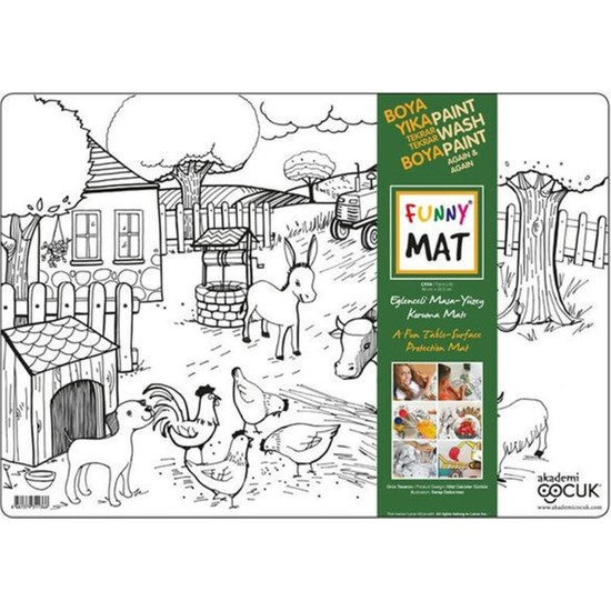 Akademi Çocuk Funny Mat Eğlenceli Masa Yüzey Matı - Çiftlik