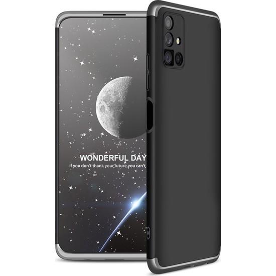 Samsung Galaxy M51 Kılıf 360 Derece Tam Koruma AYS GKK İnce Sert Kapak Sert Polikarbon Kapak Siyah - Gri