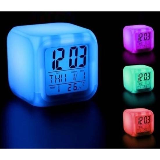 Umso 7 Renk Değiştiren Çocuk Odası Alarmlı Dijital Küp Çalar Saat