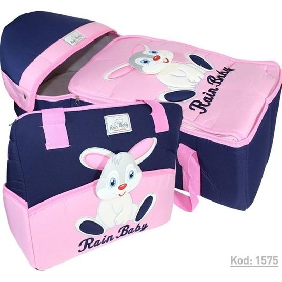 Rain Baby Kabartma Tavşanlı Pembe Bebek Taşıma Seti K1575