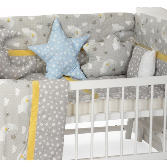 Sluupy Gri Figürlü Bebek Uyku Seti 70X130 (10 Parça)