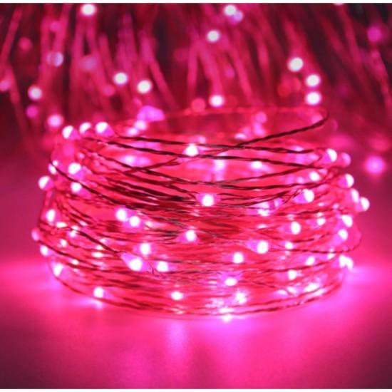 Pazariz 5 Metre Peri LED Çok Amaçlı Yılbaşı Parti Dekoratif Aydınlatma - Pembe