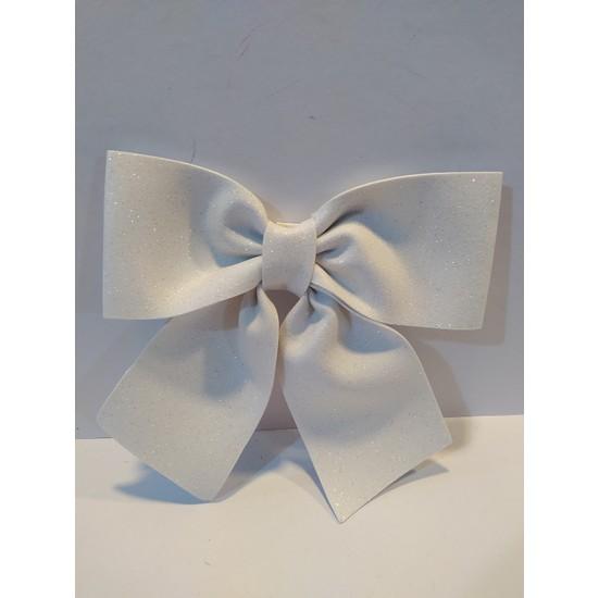Mavi Boncuk Yılbaşı Simli Beyaz Fiyonk
