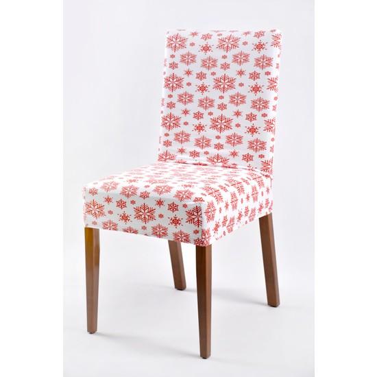 Açelya Home Kar Desenli Likralı Lastikli Sandalye Kılıfı 6'lı