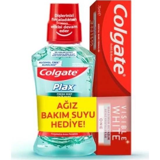 Colgate Visible White One Diş Macunu 75 ml + Plax Taze Nane Ağız Bakım Suyu 250 ml