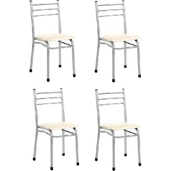 Sivasgözde Asos Metal Krem 4'lü Kahve Çay Ocağı Kıraathane Sandalyesi