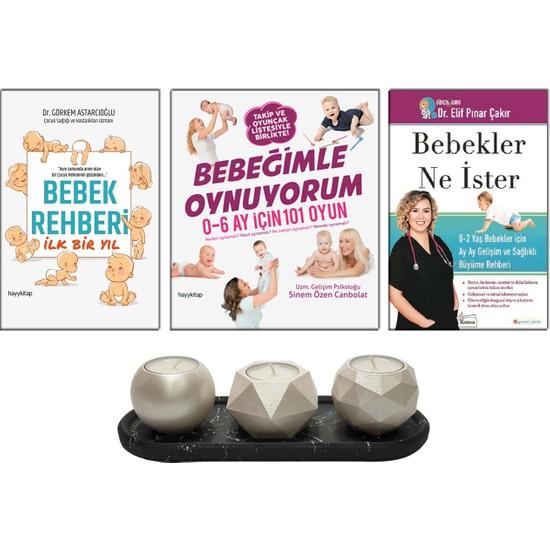 Bebekler Ne Ister : 0-2 Yaş Bebekler Için - Elif Pınar Çakır + Bebek Rehberi Ilk Bir Yıl - Görkem Astarcıoğlu + Bebeğimle Oynuyorum - Sinem Özen Canpolat + Betonsu Tasarım Tealight Mumluk Seti