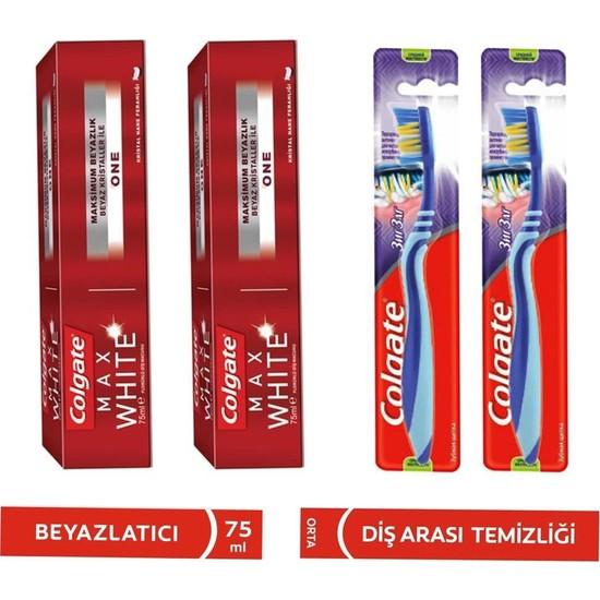 Colgate Max White One Beyazlatıcı Diş Macunu 75 ml + Diş Fırçası 4'lü Set
