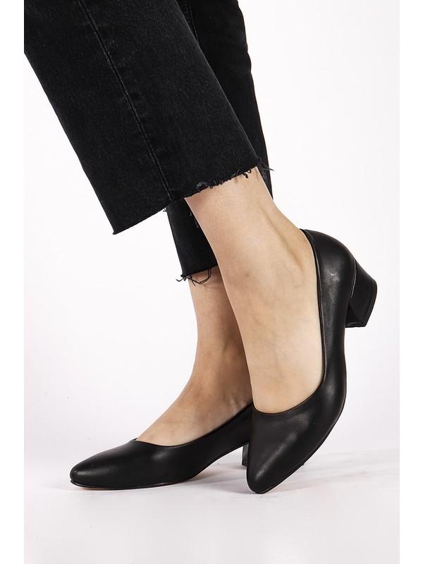 Hayalimdeki Ayakkabı Sandra Siyah Cilt Topuklu Ayakkabı