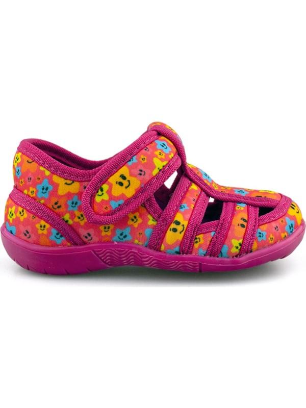 Cici Bebe Fuşya Desenli Kız Cocuk Ev Ayakkabısı 117130K-FSY-DSN