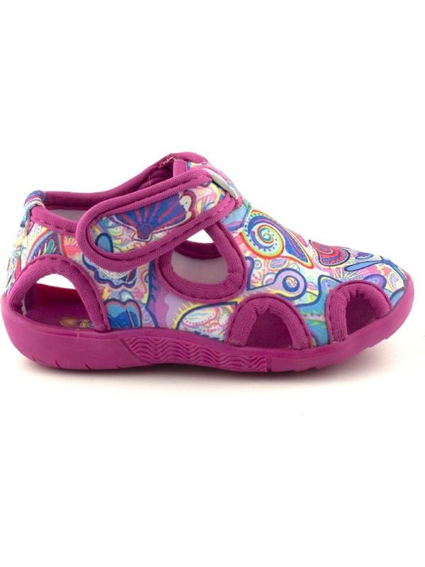 Cici Bebe Fuşya Kumsal Desen Kız Çocuk Ev Ayakkabısı 117120K-FSY-KM-DSN
