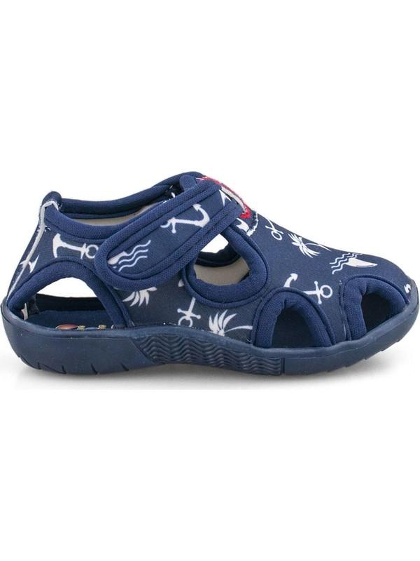 Cici Bebe Lacivert Çapa Desen Erkek Çocuk Ev Ayakkabısı 117120E-LC-CP-DSN