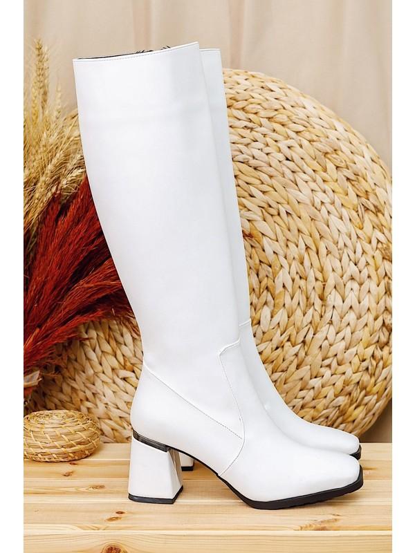 Limoya Toronto Beyaz Metal Topuk Aksesuarlı Fermuarlı Köşeli Burunlu Klasik Dizaltı Çizme