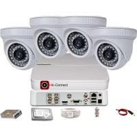 Qromax Pro D236B 4 'Lü 5 Megapiksel Sony Lens 1080P Aptina Sensör İç Mekan Güvenlik Kamerası Seti
