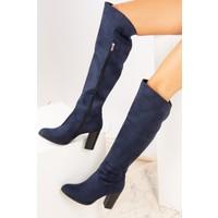 Fox Shoes Lacivert Süet Kadın Çizme A654018002