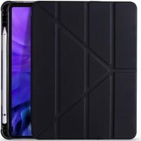 Ceplab Apple iPad Air 4. Nesil Kılıf 10.9 2020 Pencil Bölmeli Smart Case+9h Nano Esnek Ekran Koruyucu Cam Siyah