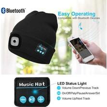 Yukka Siyah Bluetooth 5.0 LED Şapka Dahili Stereo Hoparlör Müzik USB Şarj Edilebilir (Yurt Dışından)