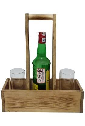Wooden Style Dekoratif Doğal Ahşap Retro Şarap Taşıma Standı-Ebatlar 32X12X39