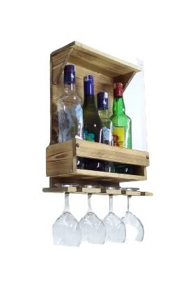 Wooden Style Dekoratif Doğal Ahşap Retro Şaraplık 4 Şişe 4 Kadeh-Ebatlar 41X36X11