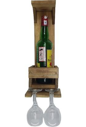 Wooden Style Dekoratif Ahşap Retro Şaraplık 1 Şişe 2 Kadeh Askısı-Ebatlar 41X15X12