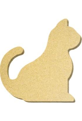TYMCNC Ahşap BY0748 Boyanabilir Hobi Kedi Figürü 18 x 20 x 1.8 cm