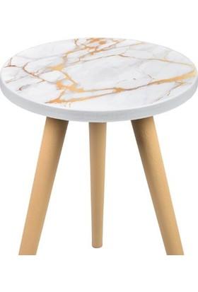 Dorcia Home Mermer Desenli 3 Lü Zigon Sehpa - Beyaz