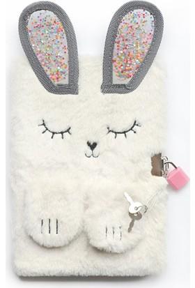 Kagito Kilitli Rabbit Peluş Çizgili Defter A5