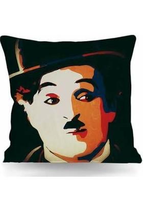 43*43 cm 250 gr Elyaflı Iç Yastık Kırlent Charlie Chaplin Temalı Çift Taraflı (T0173)