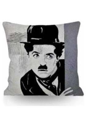 43*43 cm 250 gr Elyaflı Iç Yastıklı Kırlent Charlie-Chaplin Temalı (T0186) Ücretsiz Kargo