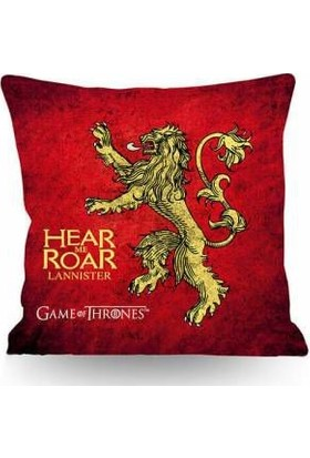 43*43 cm 250 gr Elyaflı Iç Yastıklı Kırlent Game Of Thrones Lannister Temalı Çift Taraflı (T0156)