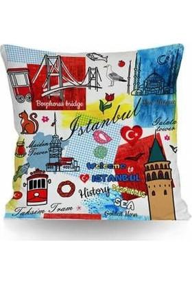 43*43 cm 250 gr Elyaflı Iç Yastıklı Kırlent Istanbul Temalı ( T0182) Ücretsiz Kargo