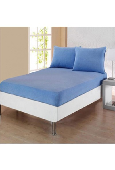 Açelya Çarşaf Battal 200X200 cm Yastık Kılıflı Mavi