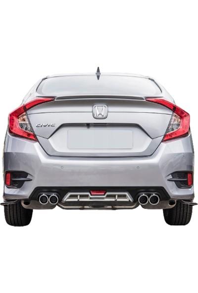 Blue Honda Civic Fc5 Gri-Siyah Renk Ithal Orjinl Egzozlu Difüzör 2016-2017-2018-2019-2020 Uyumlu Difrizör Blueoto