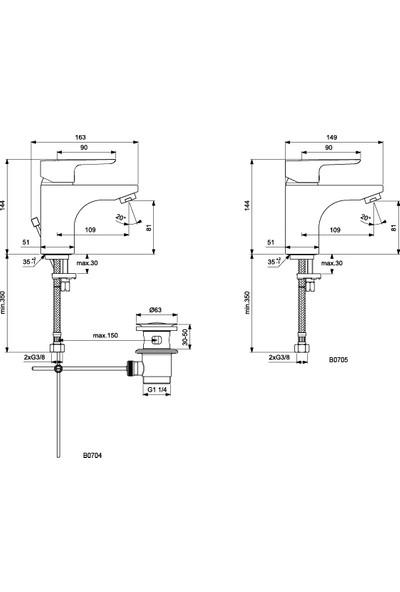 Ideal Standard Ceraplan Iıı Grande Lavabo Bataryası