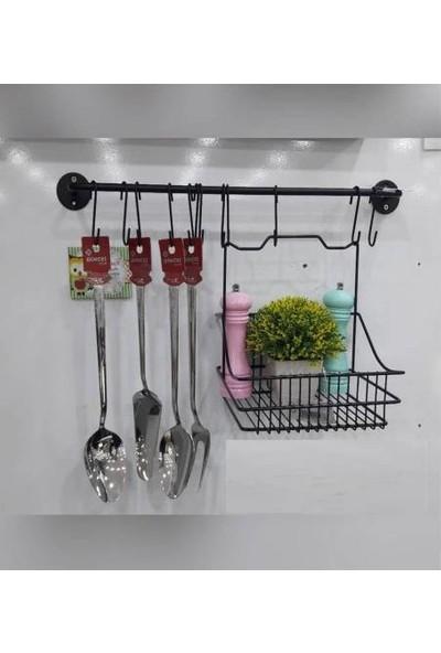 Mien Siyah Metal Mutfak,banyo Askısı ve Sepet Seti,çok Amaçlı Ferforje Askılı Vip Sepet Takımı
