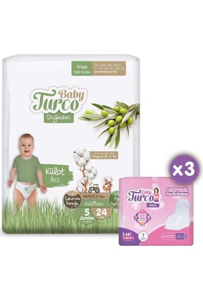 Baby Turco Doğadan Külot Bez 5 Numara Junior 24'lü + 7'li x 3 Lady Turco Hijyenik Ped