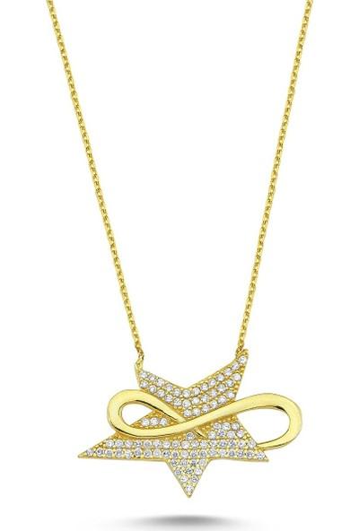 Bulvardi Sonsuzluk Star Gümüş Taşlı Kolye Altın ADA0026 1685