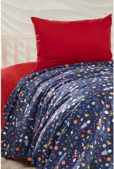 Bade Tasarım Lacivert & Kırmızı Uzay Desenli Çocuk & Genç Tek Kişilik Nevresim Takımı