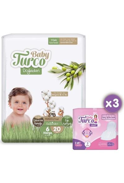 Baby Turco Doğadan 6 Numara Xlarge 20 Adet + 3x7 Lady Turco Hijyenik Ped Hediyeli