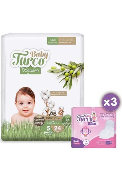 Baby Turco Doğadan 5 Numara Junior 24 Adet + 3x7 Lady Turco Hijyenik Ped Hediyeli