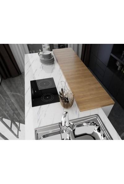 Demdas Mermer Desenli Mutfak Tezgah Üstü Yapışkanlı Folyo Beyaz