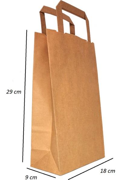 Baran Ambalaj Doğal Kraft Kağıt Poşet Çanta 80GR 18 x 9 x 29 cm 50'li