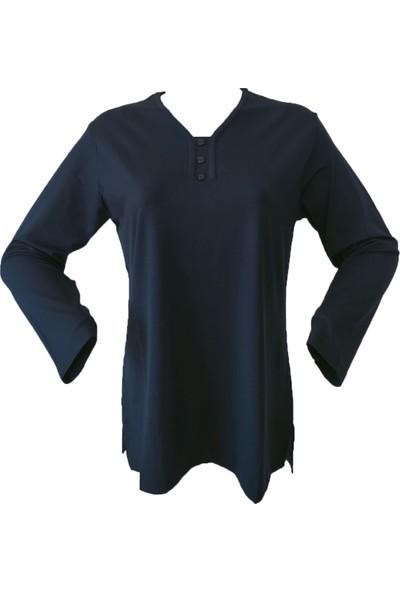 Rüya Lacivert Anne V Yaka Penye Bluz